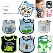 Lovely Cotton Embroidered Bibs 7 Pack 7 days week newborn gift pack super absorbent drool bibs , baby shower gifts , boys , girls, unisex (BABYSAURUS)