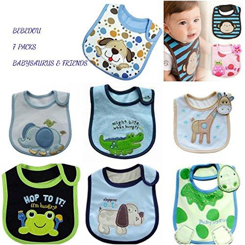r Lovely Baumwolle bestickt Lätzchen 7Pack 7Tage Woche Neugeborene Geschenk Pack Super Saugfähig Sabbern Lätzchen, Baby Dusche Geschenke, Jungen, Mädchen, Unisex ()