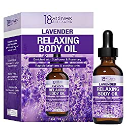 18actives Anti-Aging Natural Lavender Relaxing Body Oil 4oz / 120ml