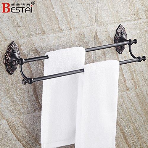 LHbox TapSchwarz Antike Antike Handtuchhalter Doppel-Hebel Hebel Badezimmer voll Kupfer Bad Handtuchhalter Handtuchhalter, Dual 60cm -