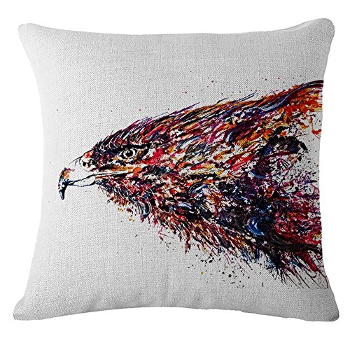 Nunubee Eagle Flax Linen Throw Pillow Covers Comfortable Cushion Cover Super Soft Pillowcase For Sofa Bed Decorative Pillows 45X45CM