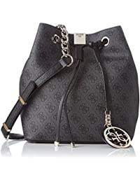 Guess - Christy, Bolsos de mano Mujer, Multicolore (Coal), 14x26.5x23.5 cm (W x H L)