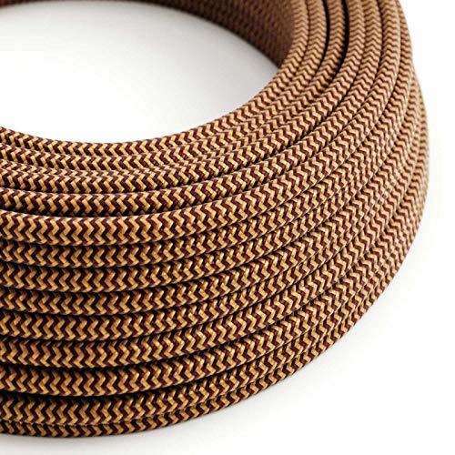 creative cables Textilkabel rund, Zick-Zack Muster, Gold/Bordeaux mit Seideneffekt, RZ23-5 Meter, 3x0.75