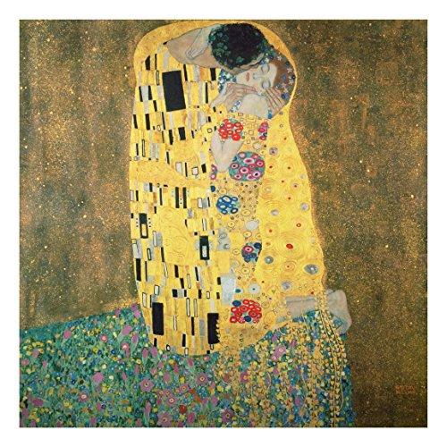 Bilderwelten Alu-Dibond - Kunstdruck Gustav Klimt - der Kuß - Jugendstil Quadrat 1:1, Aluminium...
