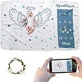 JMITHA Couverture mensuelle pour bébé avec photo de Noël, fond super doux pour nouveau-né (Ailes d'ange 1 f) 100x150cm