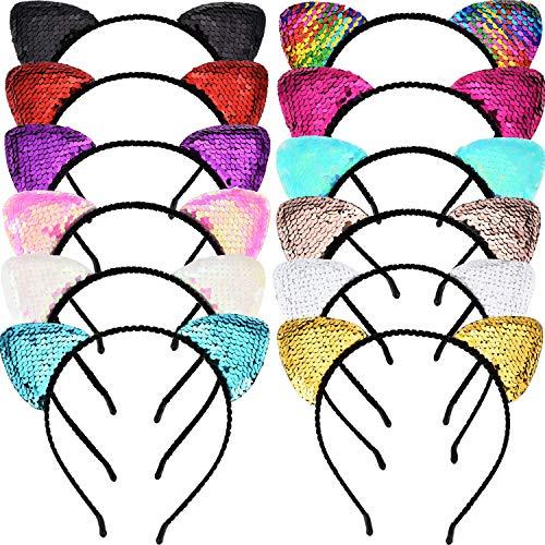 12 Stück Glitter Cat Ear Stirnband Shine Pailletten Katzen Haarband Bling Hairband Haarschmuck für Damen Mädchen, 12 Farben