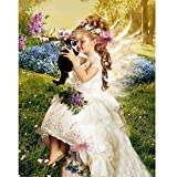 Tomtopp Girl and Cat 5D Diamond DIY Painting Craft Kit Home Decor