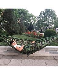 YZD 0.6kgs 300x180cm 2 viajes de la persona que acampan tela al aire libre del nilón cama doble del paracaídas de la hamaca para el ejército del camuflaje