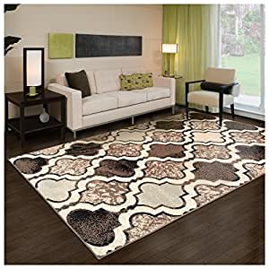 Superior Modern Viking Collection Area Rug Ivory 8 X 10
