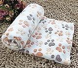YOIL Schönes Bett für Haustiere Nette Weiche Pfotenabdruck Hund Welpen Katze Decke Fleece warme Bett Matte Abdeckung Handtuch Winterbett liefert (L, Beige)