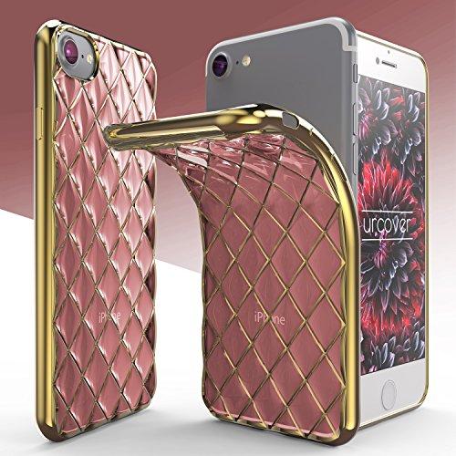 Housse iPhone 7 Plus [Rebord Miroir] Urcover Coque Transparent Rose - Or Souple Silicone TPU Étui de Protection Apple iPhone 7 Plus Case Téléphone Rose / Or