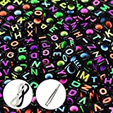 #10: Goodlucky 600 Pcs Letter Beads with 1 Pair of Tweezers 1 White and 1 Black Cord Black Alphabet Beads Mixed Color Alphabet