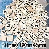 Ricisung Buchstabenplättchen aus Holz, Scrabble-Steine, schwarze Buchstaben mit Punktezahlen, zum Basteln, 100 Stück, Mixing