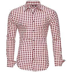 Kayhan Hombre Camisa Slim fit, Oktoberfest Red L