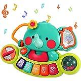 Pianoforte elettronico per la prima educazione dei bambini, giocattolo con tastiera musicale a forma di elefante con suoni e