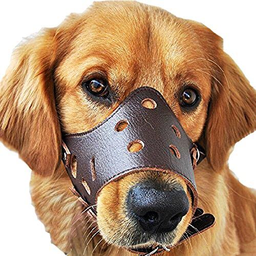 Leetop Anti-Rark Maulkorb für Hunde Dog Muzzle Maulkorb Safe für Hunde,Maulkorb Baskerville Einstellbar Leder mit (Maske Hund Von Der Baskerville)