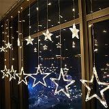 EONSMN Lichterkette, batteriebetrieben, 138 LEDs, 12 Sterne, Fenster-Lichterkette mit 8 Modi für Party, Urlaub, Hochzeit, Schlafzimmer Dekoration warmweiß