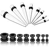 tumundo Set di 16 Pezzi Set Flesh tunnel estensore plug orecchio tappo nero e set taper set dilatatore bianco 1,6-10mm