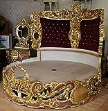 LouisXV Barock Bett Rokoko Doppelbett Rund Gold MkBd2000 Antik Stil Massivholz. Replizierte Antiquitäten Buche Antikmessing.