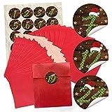 24 rote Adventskalender Tüten SET (13 x 18 cm) und 24 runde Aufkleber 4 cm Zahlen 1-24 grün gepunktet mit roter Mütze zum Befüllen