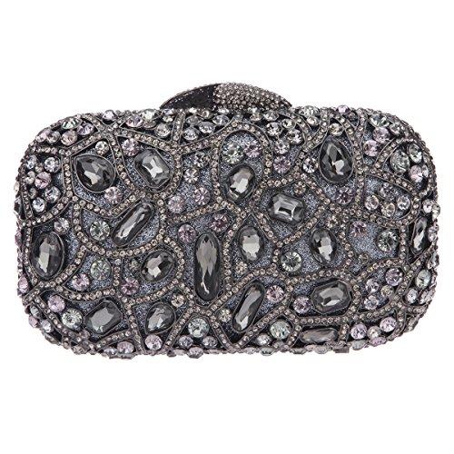 Bonjanvye Bling Evening Clutch Purse For Wedding Handbags For Girls Black Gray