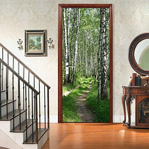 Türaufkleber Kreativer Umweltschutz 3D Baum Schatten Türaufkleber Renovierte Selbstklebende Schlafzimmer Wandaufkleber 88 * 200cm - Renovierte Leben