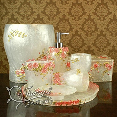 BBSLT Europeo di resina di moderne suite bagno toilet kit white rose garden jade insieme di otto