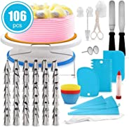 Cake Decorating Kit, lesgos 106 PCS Baking Supplies With 11 Inch Cake Turntable, Icing Tips, Cake Spatulas, Pastry Tools, Cu