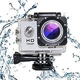 MAOZUA Ultra HD 1080p Action Kamera WI-FI Wasserdichte Sportkamera mit 170 ° Weitwinkelobjektiv 900mA Batterie, Motorrad Fahrrad Einsatz mit Zubehör Kit für Tauchen Schwimmen, Weiß