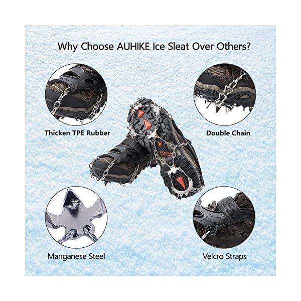 AUHIKE Crampones 18 de Dientes y Garras l Cubierta Antideslizante de Zapatos para Nieve y Hielo, con Cadena de Acero Inoxidable 4