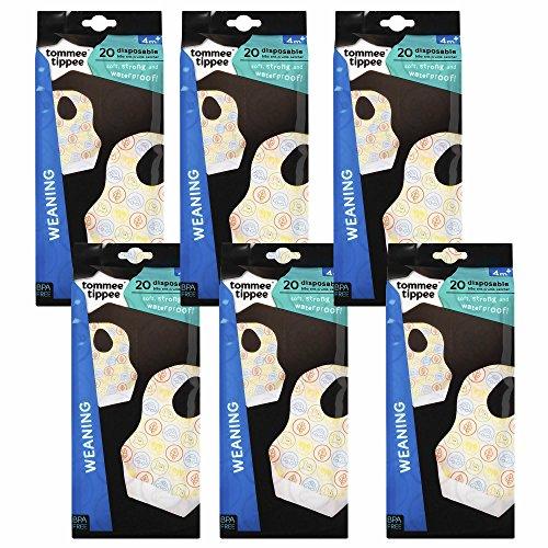 Tommee Tippee Explora Einweg-Baby-Lätzchen mit Auffangkrümeln, Lippen, Bunte Autos, Dinosaurier & Blätter, Unisex, für Jungen & Mädchen, ab 4 Monaten, BPA-frei, wasserdichte Rückseite