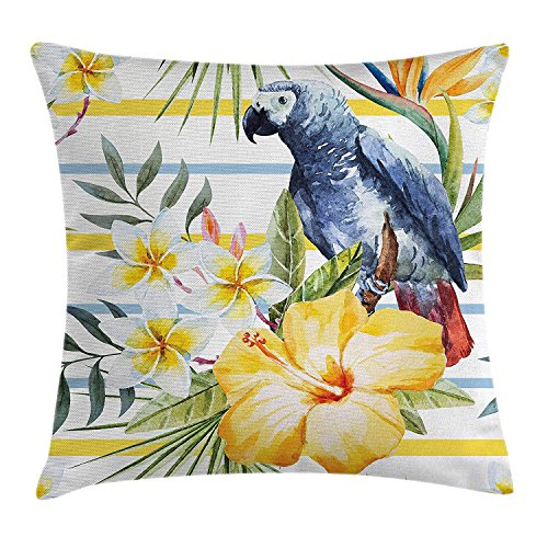 ZTLKFL Parrot Throw Pillow Cushion Cover, Tropic Pattern with Parrot Orchids and Hibiscus Flowers Hawaiian Jungle Style Image, Decorative Square Accent Pillow Case, 18 X 18 Inches, Multicolor -
