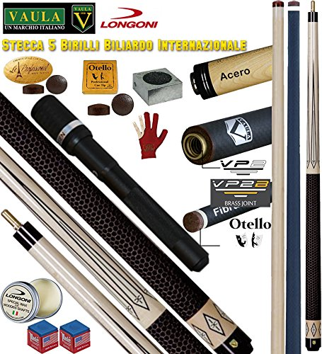 Longoni Vaula Classic Victoria Pro stecca Biliardo Internazionale 5-9 Birilli, cm141,5, 2pz. con 2 punte, una acero e una Shadow fibra di carbonio, cuoio mm.12,2, con prolunga universale, Accessori, ricambi e omaggio.
