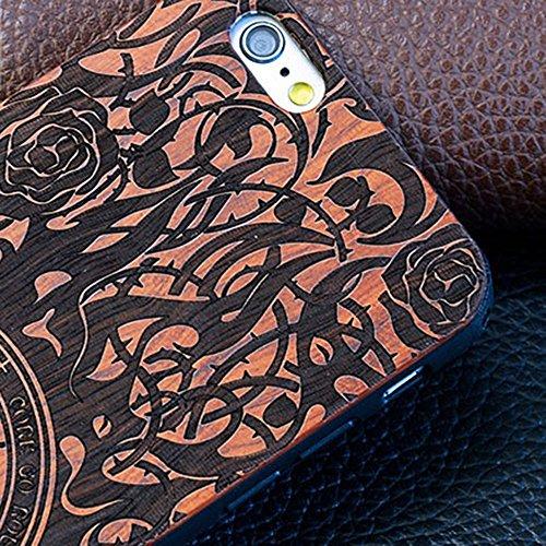 Housse de Protection Bois Véritable pour iPhone 6 Plus/ 6S Plus (5.5 pouce), Skitic Naturel Sculpté Bois de Rose Cover Coque + TPU Bumper Doux Hybride Etui Case - Constantine Entonnoir