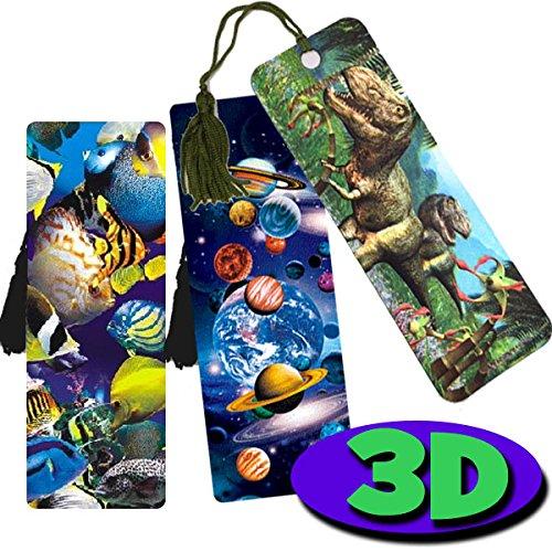 3Stück High Qualität, 3D Lesezeichen-Dinosaurier, Planeten/Platz & Tropical Fish. Toll als Party Tasche Füllstoffe oder Ende der Begriff, Geschenke für Schüler