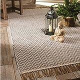 The Indian Arts Fair Trade handgewebt Zig Zag Weave Baumwolle Teppich, 100% Baumwolle mit Fransen Rand (75x 120cm) grau