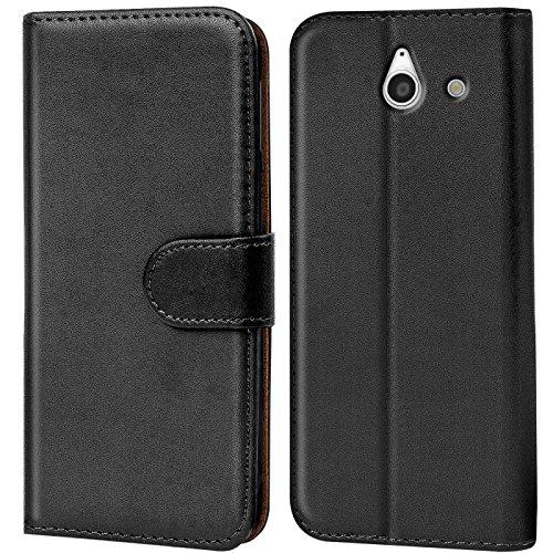 Verco Huawei Y550 Hülle, Handyhülle für Huawei Ascend Y550 Tasche PU Leder Flip Case Brieftasche - Schwarz