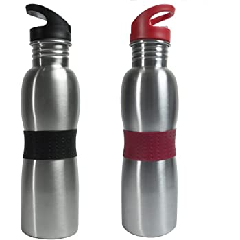 Polo Lifetime Stainless Steel Water Bottle Set,750 ml, Set of 2, Black & Red