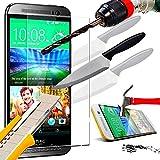 A&D® FILM PROTECTION Ecran en VERRE Trempé HTC ONE M9 filtre protecteur d'écran INVISIBLE & INRAYABLE vitre INCASSABLE pour Smartphone HTC M9 dual double sim 4G
