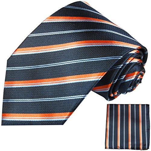 Cravate homme bleu orange rayée ensemble de cravate 2 Pièces ( longueur 165cm )