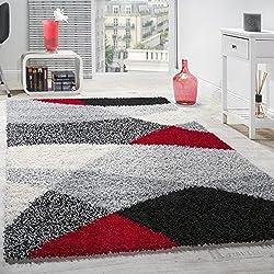 Alfombra Shaggy Pelo Alto Estampada En Gris Negro Blanco Rojo, tamaño: 300 x 400 cm medidas inferiores disponibles
