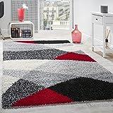 Paco Home Shaggy Teppich Hochflor Langflor Weich Geometrisch Gemustert Grau Schwarz Rot, Grösse:160x220 cm