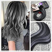 Moresoo Tape in Remy Extensiones Pelo Natural Ombre Negro Natural a Gris Plata 24Pulgadas 20Pcs/50G Seamless Brasileno Recto Hair Extension