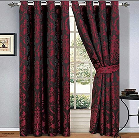 Luxury Jacquard Curtains Pair Fully Lined Ready Made Ring Top With Free Tie Backs And P&P (46 X 54, Dark Burgundy)