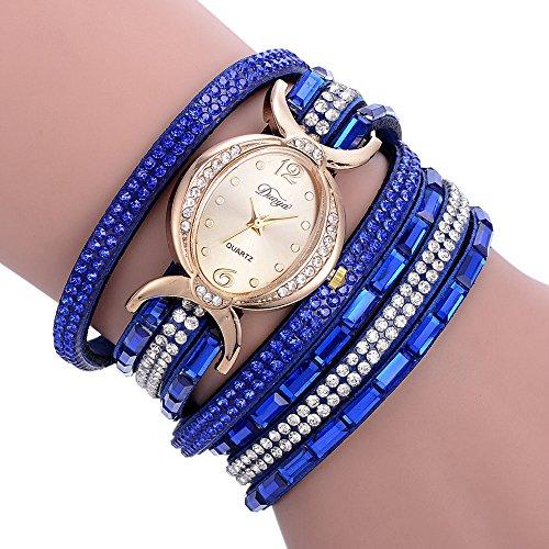 Beikoard Strass Bracciale Orologio, Orologio da Polso da Donna in Pelle Vintage PU con Borchie Vintage Tempestato di Diamanti(Blu,One Size)