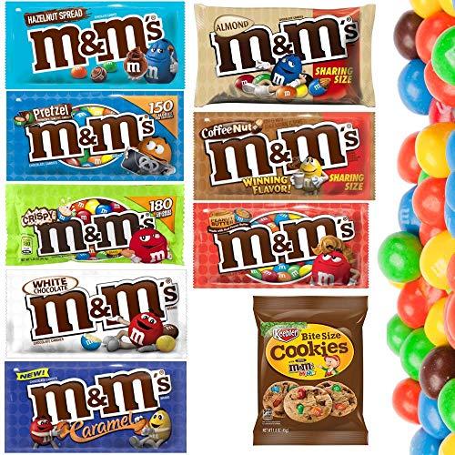 M&M's aus den USA - Erdnussbutter, Haselnussaufstrich, Karamell, Weiße Schokolade, Mandel, Brezel, Kaffee Nuss + Cookies