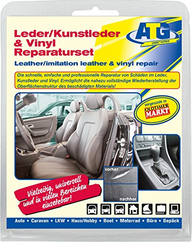 Preisvergleich Produktbild ATG - Autositzbezüge Lederreparaturset - Smart Repair Set für Leder, Kunstleder und Vinyl - professioneller & günstiger Werteerhalt für Ihr Auto - 15 teilig