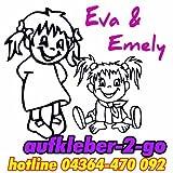 Autoaufkleber Wandtattoo Kindername - Wunschtext ca.16 cm, zweifarbig, zwei Mädchen
