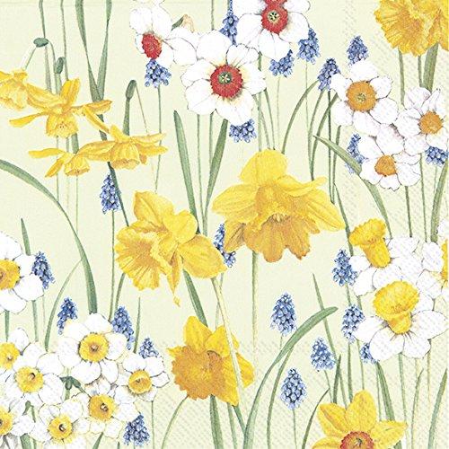 IHR Blumen des Frühlings hellgrünes 3-lagiges Luxuxpapier Mittagessen Servietten (33 x 33 cm) (Blume 3-lagige Servietten)