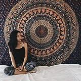 Twin hippie Tapisserie, Hippy Mandala Bohemian tapisseries, Indian Dorm Decor, psychédélique Tapisserie murale à suspendre ethnique décoratif Tapisserie, 137,2x 213,4cm (Twin), Coton, blanc, Jumeau
